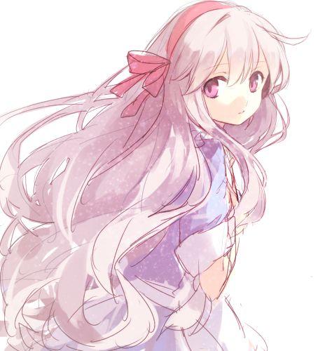 Anime Girl Ribbon Shy Cute Purpleeyes