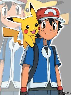 dcanimeboy ash ketchum pokemon pikachu