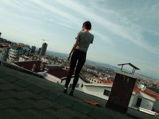 view city roof selfie holga