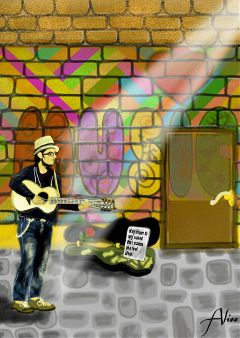 dcstreetmusician drawing music guitar popart