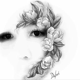 drawing pencilart blackandwhite beautiful eyes myedit curvestool vignette doubleexposure photography flowers