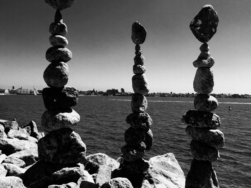 #photography #balance #zen #bay #blackonblack #nature #rocks #bay #sky