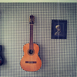 wall guitar music art skull
