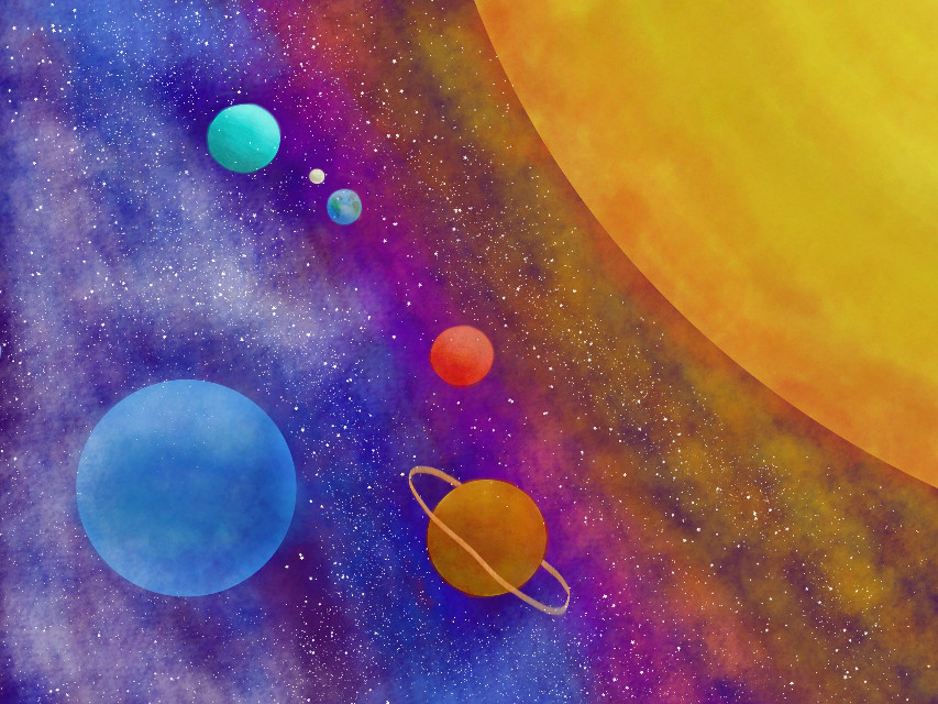 My first digital painting.   #DCOuterSpace #planets #stars #painting #art #drawing
